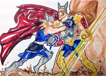 Thor and Beta Ray Bill - Commission (FULL) by brilliant-beatrice
