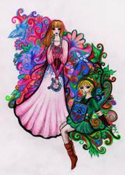 Link and Zelda by La-Chapeliere-Folle