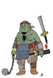 Heavy Infantry Orc with a mace by pfendino