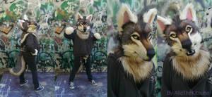 Grey wolf partial commission by AlieTheKitsune