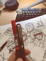 Knight Doodles - Copics, Pentel Brush Pen by zeedurrani
