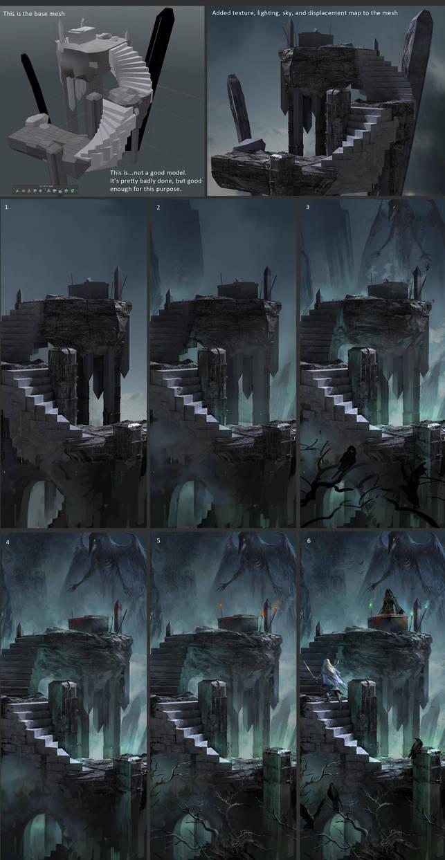 Raven Altar - process by sandara