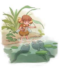 feeding tadpoles by sandara