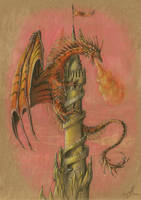 Dragon on the tower by AlviaAlcedo
