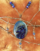 Water dragon - stone painting necklace set by AlviaAlcedo