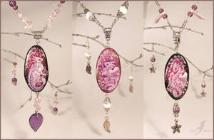Sakura baby dragons - stone painting necklaces by AlviaAlcedo