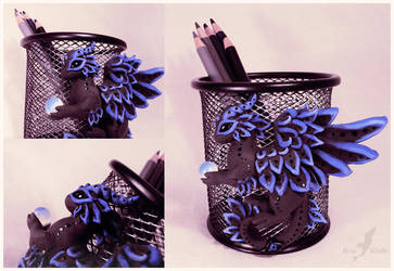Black dragon pencil holder by AlviaAlcedo