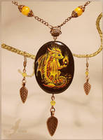 Fire baby dragon - stone painting necklace by AlviaAlcedo