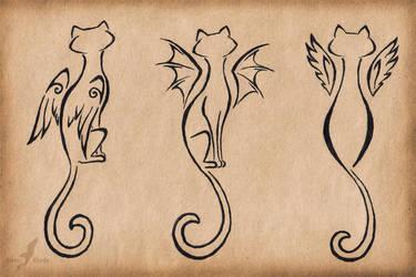 Winged cats trio - tattoo design by AlviaAlcedo