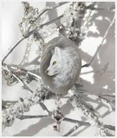 White winter wolf - stone painting by AlviaAlcedo
