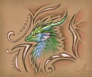 Green sunset dragon by AlviaAlcedo