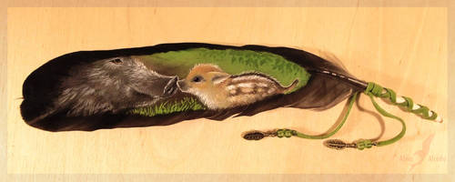 Mother's care - feather painting by AlviaAlcedo