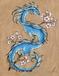 Blue sakura dragon  - design by AlviaAlcedo