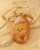 Sunny teddy - stone painting necklace by AlviaAlcedo