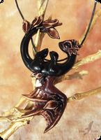 Night earth dragon  necklace by AlviaAlcedo