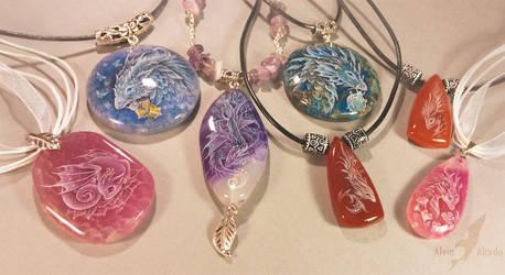 Stone painting pendants by AlviaAlcedo