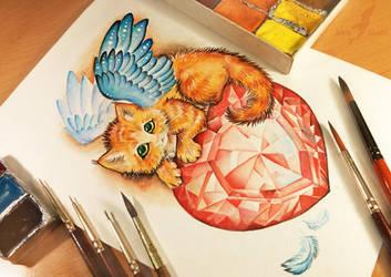 Crystal heart kitten by AlviaAlcedo