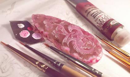 Stone painting - Sunrise dragon [WIP] by AlviaAlcedo