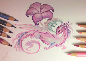 Pink flower dragon by AlviaAlcedo