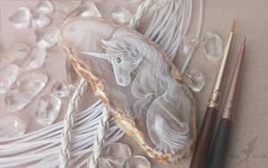 Ice unicorn - stone painting by AlviaAlcedo