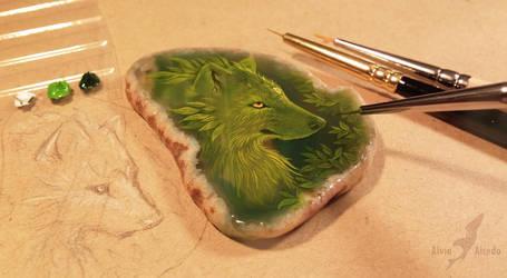 Green wolf - stone painting by AlviaAlcedo