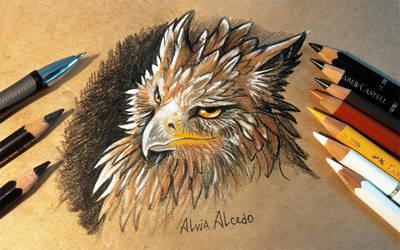 Suspicious griffin by AlviaAlcedo