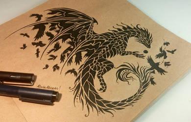 Dark raven dragon by AlviaAlcedo