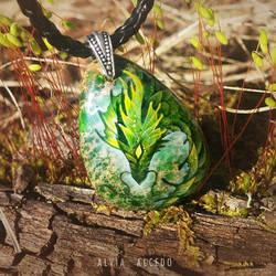 Green jasper dragon by AlviaAlcedo