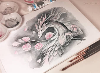 Cherry blossom spring dragon by AlviaAlcedo