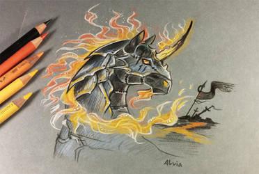 Dark fire unicorn by AlviaAlcedo