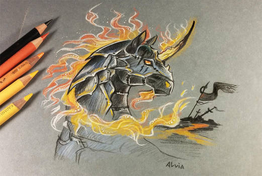Dark fire unicorn by AlviaAlcedo