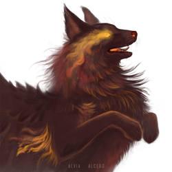 Fire hound WIP by AlviaAlcedo