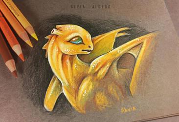 Golden pern dragon by AlviaAlcedo