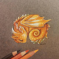 Autumnal baby dragon by AlviaAlcedo