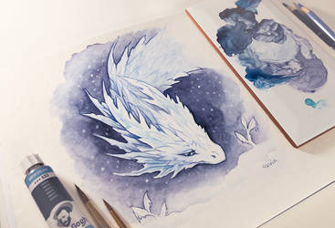 Snowy dragon by AlviaAlcedo