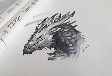 Sketch of a grey dragon by AlviaAlcedo