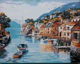 Small Village by the Sea - Acrylic Painting by jezreelian10