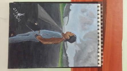 A Guy in the Runway - Acrylic Painting by jezreelian10