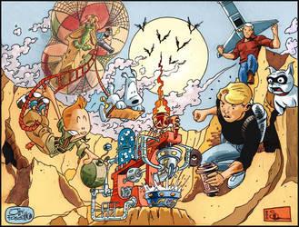 Tintin vs Jonny Quest by JayFosgitt