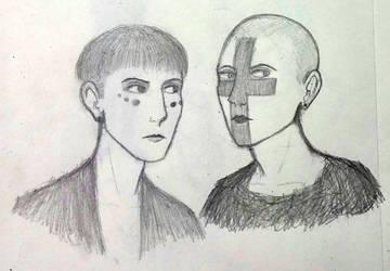Luca and Alexis pencil sketch by happyfear