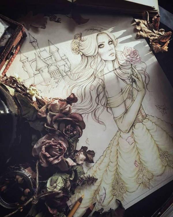 Line Art Princess Belle Fanart by EnysGuerrero