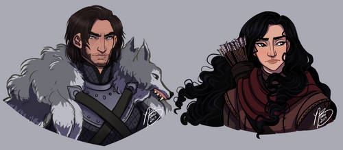 Cregan Stark and Black Aly Blackwood by naomimakesart