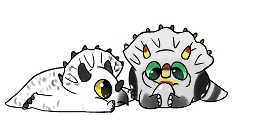Triceratop Gaull And Snowy Chibis by StoryBirdArtist