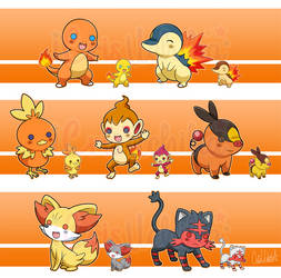 Pokemon Starters Fire Type Pon! by iCrisUchiha