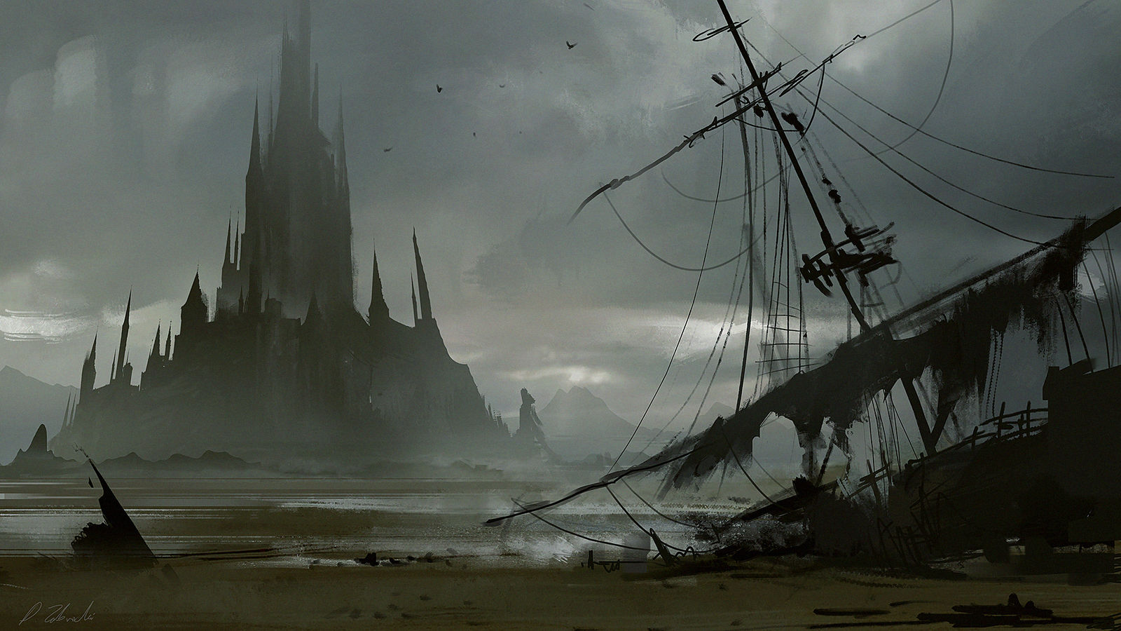 Island Castle and destroyed ship by daRoz