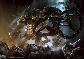 Alien vs Predator by daRoz