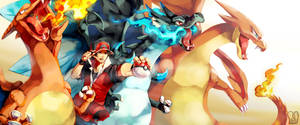 Pokemon : Triple Charizards by Sa-Dui