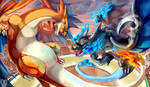 Mega Charizard X vs Mega Charizard Y by Sa-Dui