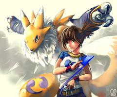 Digimon Tamer : Ruki and Renamon by Sa-Dui