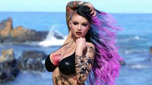 Punk Girl Beach 1 by AwakeOrStillDreaming